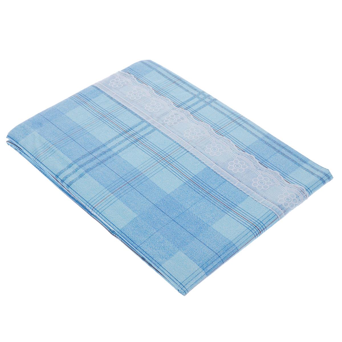 Скатерть виниловая Home Queen, прямоугольная, цвет: голубой, 107 x 152 см51537Великолепная прямоугольная скатерть Home Queen, выполненная из винила на нетканой основе с тиснением и волнистой каймой, органично впишется в интерьер любого помещения, а оригинальный дизайн удовлетворит даже самый изысканный вкус. Ажурный край скатерти придает ей оригинальность и своеобразие. В современном мире кухня - это не просто помещение для приготовления и приема пищи; это особое место, где собирается вся семья и царит душевная атмосфера. Кухня - душа вашего дома, поэтому важно создать в ней атмосферу уюта.