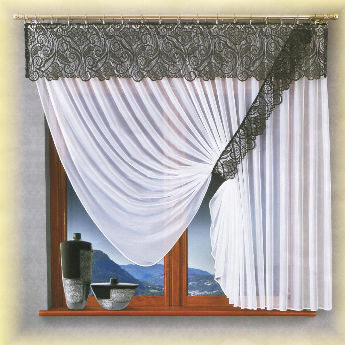 Комплект штор Wisan Benita, на ленте, цвет: белый, графит, высота 180 см079W белый/графитРоскошный комплект штор Wisan Benita, выполненный из полиэстера, великолепно украсит кухонное окно. Комплект состоит из тюля, ламбрекена и подхвата. Тюль выполнен из полупрозрачной ткани. Кружевной ламбрекен выполнен из полиэстера. Подхват выполнен из ажурной ткани в цвет ламбрекена. Нежная воздушная текстура, оригинальный дизайн и нежная цветовая гамма привлекут к себе внимание и органично впишутся в интерьер комнаты. Все предметы комплекта - на шторной ленте для собирания в сборки.