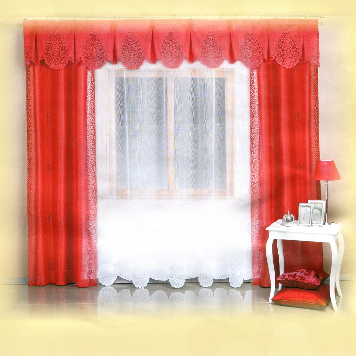 Комплект штор Wisan Wita, на ленте, цвет: алый, белый, высота 250 см5997 тюль - белая, шторы алыеРоскошный комплект штор Wisan Wita, выполненный из полиэстера, великолепно украсит любое окно. Комплект состоит из двух штор, тюля и ламбрекена. Шторы выполнены из полиэстера и декорированы ажурными вставками. Тюль с фигурными ажурными краями выполнен из полупрозрачной ткани белого цвета. Фигурный ламбрекен выполнен из ажурной ткани. Нежная воздушная текстура, оригинальный дизайн и нежная цветовая гамма привлекут к себе внимание и органично впишутся в интерьер комнаты. Все предметы комплекта - на шторной ленте для собирания в сборки.