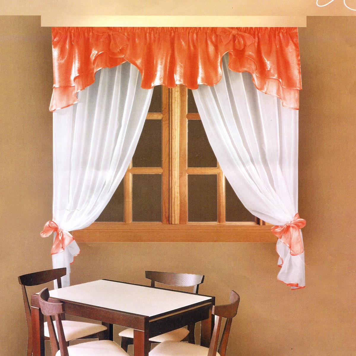 Комплект штор Zlata Korunka, на ленте, цвет: персиковый, высота 160 см. Б029Б029 персикРоскошный комплект штор Zlata Korunka, выполненный из полиэстера, великолепно украсит любое окно. Комплект состоит из ламбрекена и тюля. Воздушная ткань и приятная, приглушенная гамма привлекут к себе внимание и органично впишутся в интерьер помещения. Этот комплект будет долгое время радовать вас и вашу семью! Шторы крепятся на карниз при помощи ленты, которая поможет красиво и равномерно задрапировать верх. Тюль можно зафиксировать в одном положении с помощью двух подхватов, которые можно завязать в банты.