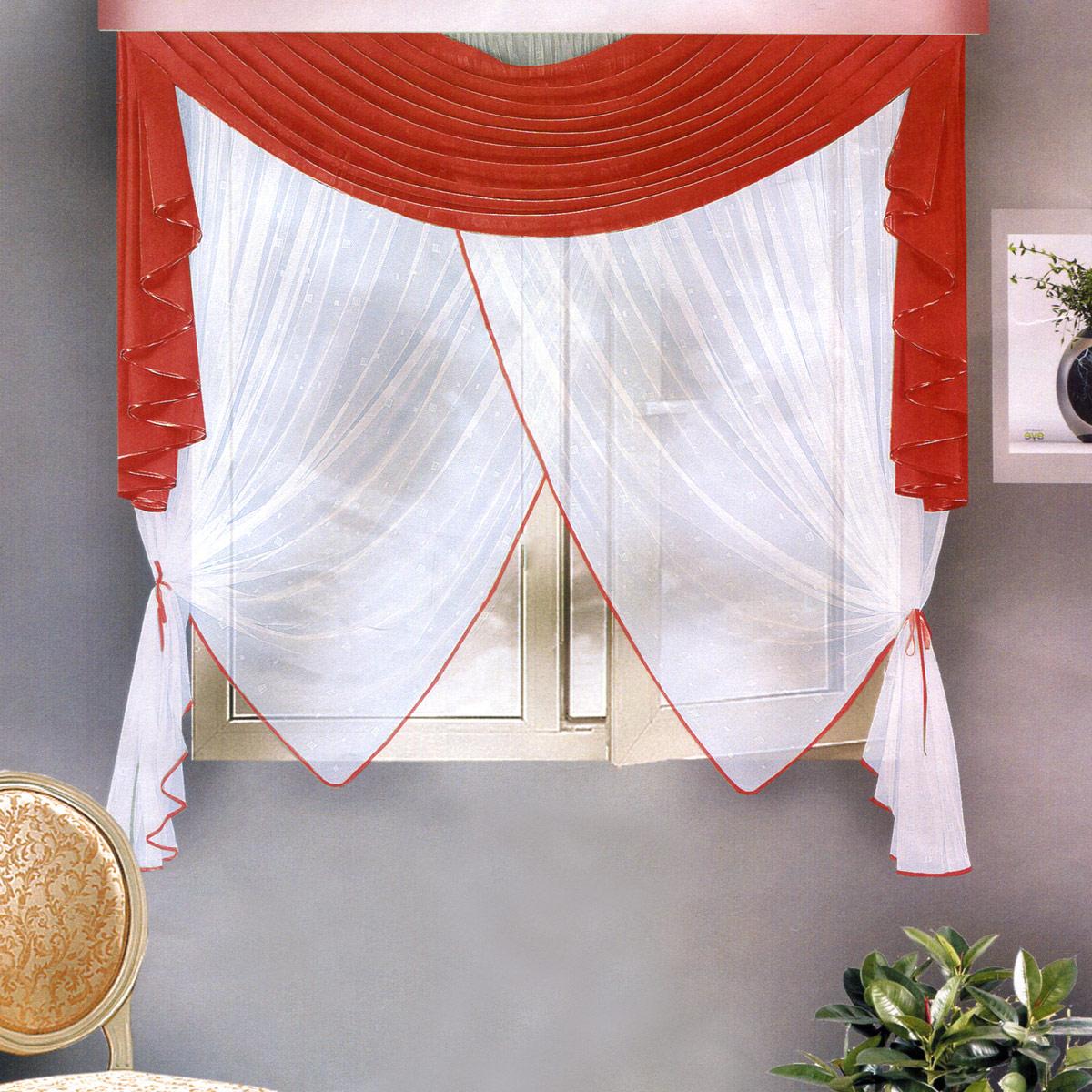 Комплект штор Zlata Korunka, на ленте, цвет: бордовый, высота 170 см. Б108Б108 бРоскошный комплект штор Zlata Korunka, выполненный из полиэстера, великолепно украсит любое окно. Комплект состоит из ламбрекена и тюля. Воздушная ткань и приятная, приглушенная гамма привлекут к себе внимание и органично впишутся в интерьер помещения. Этот комплект будет долгое время радовать вас и вашу семью! Шторы крепятся на карниз при помощи ленты, которая поможет красиво и равномерно задрапировать верх. Тюль можно зафиксировать в одном положении с помощью двух подхватов в виде атласных лент.