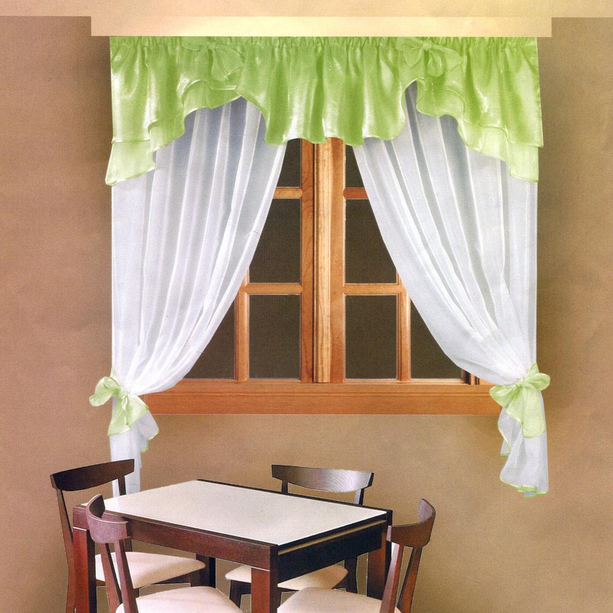 Комплект штор Zlata Korunka, на ленте, цвет: салатовый, высота 160 см. Б029Б029Роскошный комплект штор Zlata Korunka, выполненный из полиэстера, великолепно украсит любое окно. Комплект состоит из ламбрекена и тюля. Воздушная ткань и приятная, приглушенная гамма привлекут к себе внимание и органично впишутся в интерьер помещения. Этот комплект будет долгое время радовать вас и вашу семью! Шторы крепятся на карниз при помощи ленты, которая поможет красиво и равномерно задрапировать верх. Тюль можно зафиксировать в одном положении с помощью двух подхватов, которые можно завязать в банты.