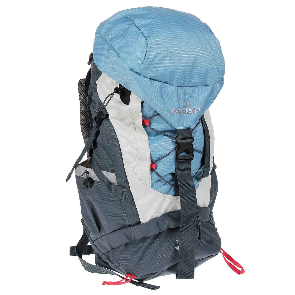 Рюкзак WoodLand Sky 60, цвет: синий, светло-серый, темно-серый30781Качественный и функциональный рюкзак WoodLand Sky 60 для любых путешествий. Оснащен удобной регулируемой подвесной системой VRS. Быстрый доступ в любую часть рюкзака. Универсальный объем. Малый вес. Удобное решение для новых задач. Особенности рюкзака: Съемный клапан с верхним карманом. Кармашек для плеера в клапане + выход для наушников. Верхний, нижний и боковой вход в основное отделение. Диафрагма типа кулиска, перекрывается затягиванием шнура и фиксируется стоппером. Три внешних кармана. Широкий поясной ремень с кармашком для мелочей. Боковые карманы выполнены из основного материала. Широкие S-образные лямки. Грудная стяжка с резиновым компенсатором. Пластиковая фурнитура YKK.