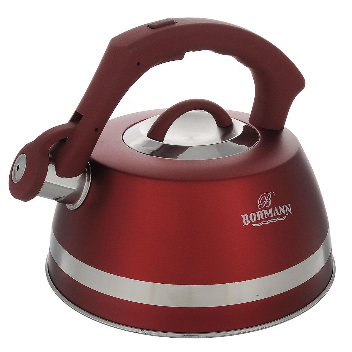 Чайник Bohmann со свистком, цвет: красный, 3,5 л. BH - 9967BH - 9967Чайник Bohmann изготовлен из высококачественной нержавеющей стали с матовым цветным покрытием. Фиксированная ручка изготовлена из бакелита с прорезиненным покрытием. Носик чайника оснащен откидным свистком, звуковой сигнал которого подскажет, когда закипит вода. Свисток открывается нажатием кнопки на ручке. Чайник Bohmann - качественное исполнение и стильное решение для вашей кухни. Подходит для использования на газовых, стеклокерамических, электрических, галогеновых и индукционных плитах. Нельзя мыть в посудомоечной машине.