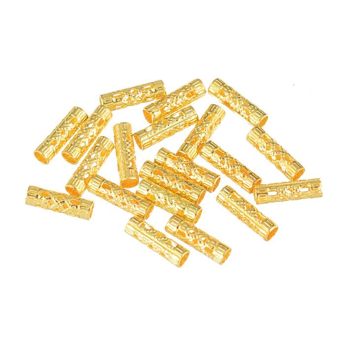 Декоративный элемент Астра, цвет: золото, 4 мм х 13 мм, 5 шт7703990Набор Астра состоит из 5 декоративных элементов цилиндрической формы, изготовленных из металла и оформленных узором. С их помощью вы сможете украсить, альбом, одежду, подарок и другие предметы ручной работы.
