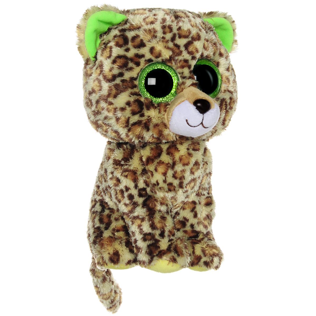 Мягкая игрушка Beanie Boos Леопард Speckles, 23 см36967Очаровательная мягкая игрушка Beanie Boos Леопард Speckles, выполненная в виде милого котенка леопарда, непременно вызовет улыбку и симпатию и у детей, и у взрослых. Забавный леопард с выразительными зелеными глазками изготовлен из высококачественного мягкого текстильного материала с набивкой из синтепона. Как и все игрушки серии Beanie Boos, эта игрушка изготовлена вручную, с любовью и вниманием к деталям. Удобный небольшой размер леопарда позволит брать его с собой на прогулку, и малышу не придется расставаться со своим новым другом. Удивительно мягкая игрушка принесет радость и подарит своему обладателю мгновения нежных объятий и приятных воспоминаний. Специальные гранулы, расположенные в лапках игрушки, способствуют развитию мелкой моторики рук малыша. Великолепное качество исполнения делают эту игрушку чудесным подарком к любому празднику.