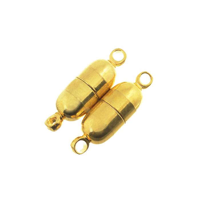 Застежка для бус Астра, магнитная, цвет: золото, 20 мм х 6 мм, 2 шт7704206Магнитная застежка для бус Астра выполнена из металла. Состоит из двух частей, каждая из которых внутри оснащена магнитом. Изделие крепиться к нитке за счет двух петелек. Застежка очень удобна в использовании. Благодаря ей будет легко снимать и надевать бижутерию. Изготовление украшений - это занимательное хобби, это реализация творческих способностей рукодельницы, это возможность создания неповторимого индивидуального подарка.
