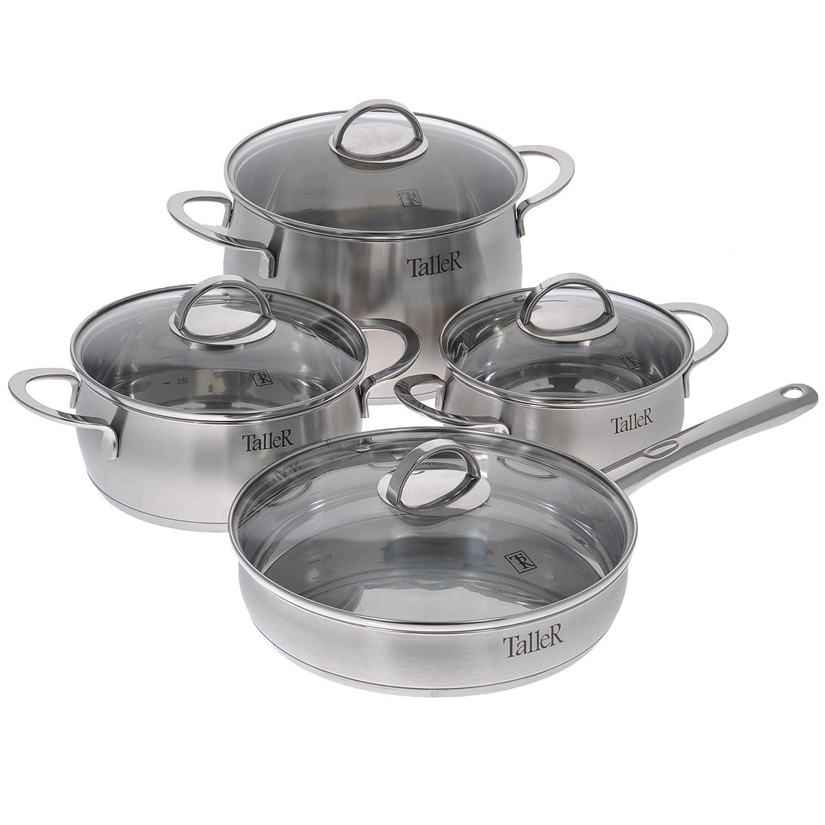 Набор посуды Taller Ледбери, 8 предметовTR-7110Набор посуды Taller Ледбери состоит из трех кастрюль с крышками и сковороды с крышкой. Кастрюли и сковорода выполнены из высококачественной нержавеющей стали 18/10, которая отличается прочностью, устойчивостью к коррозии и отсутствием вредных соединений при контакте с продуктами. Нержавеющая сталь 18/10 зарекомендовала себя как идеальный материал для кухонной посуды. Капсулированное дно с алюминиевой вставкой обеспечивает идеальное распределение тепла. Изделия имеют удобные ручки. Надежное крепление ручек гарантирует безопасность использования. Удобные отметки литража на внутренней поверхности посуды позволяют не использовать при приготовлении дополнительную мерную посуду. Крышки изготовлены из термостойкого стекла. Специальное отверстие для выхода пара позволяет готовить с закрытой крышкой, предотвращая выкипание. Подходит для всех типов плит, включая индукционные. Можно мыть в посудомоечной машине. Не подходит для духовых шкафов.