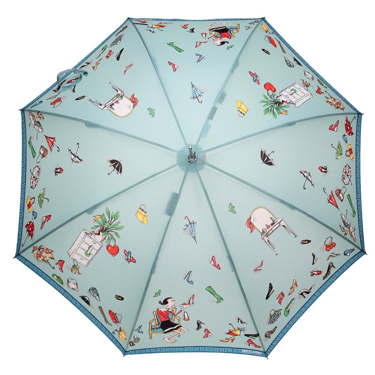 Зонт-трость Moschino, полуавтомат, светло-бирюзовый323-61/PЭлегантный полуавтоматический зонт-трость Moschino даже в ненастную погоду позволит вам подчеркнуть свою индивидуальность. Каркас зонта из стали состоит из восьми карбоновых спиц, а рукоятка закругленной формы разработана с учетом требований эргономики и выполнена из легкого алюминия. Зонт имеет полуавтоматический механизм сложения: купол открывается нажатием кнопки на рукоятке, а закрывается вручную до характерного щелчка. Купол зонта выполнен из прочного полиэстера и оформлен оригинальным изображением. Закрытый купол фиксируется хлястиком на кнопке. К зонту прилагается чехол для хранения и более удобной переноски. Такой зонт не только надежно защитит вас от дождя, но и станет стильным аксессуаром.