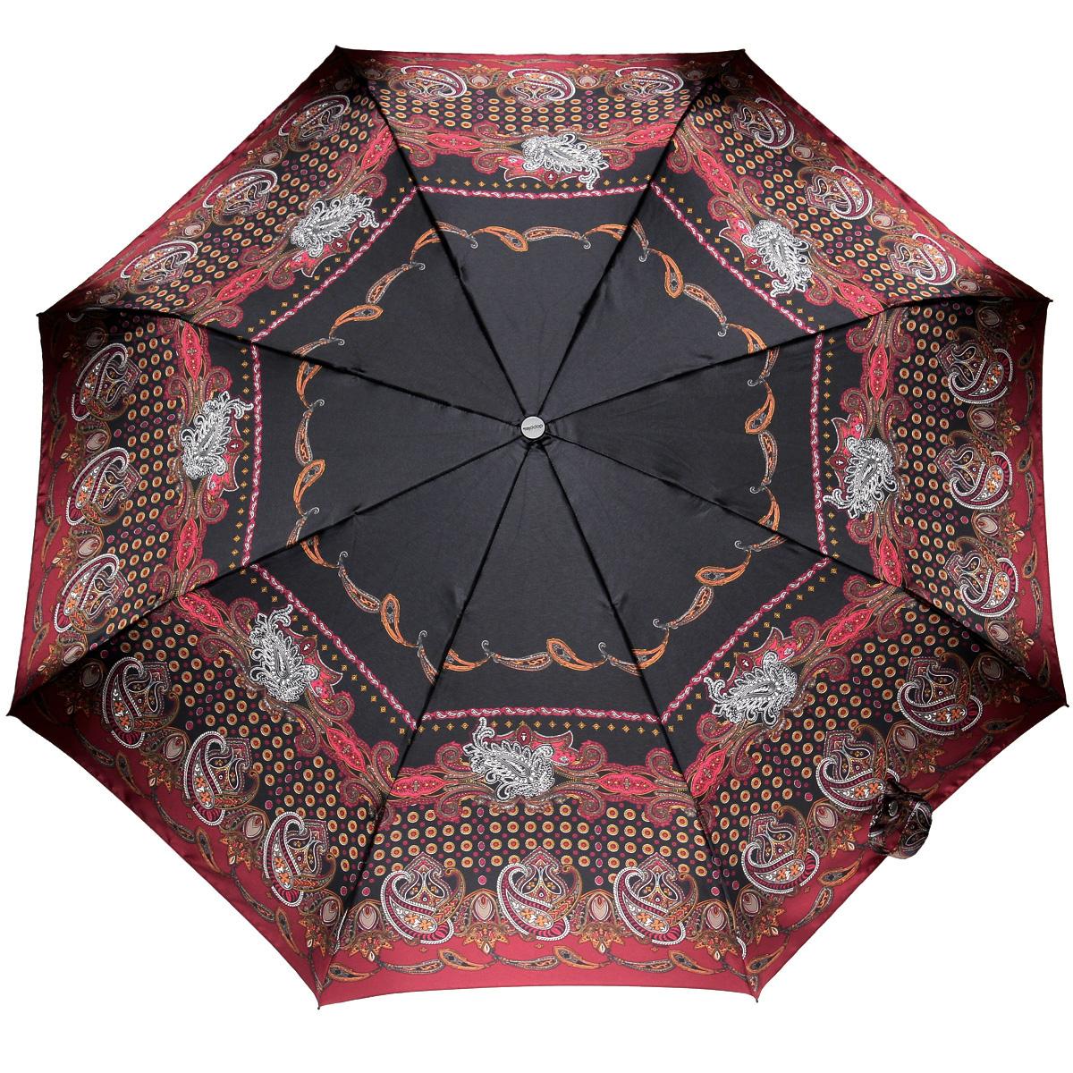 Зонт женский Doppler, автомат, 3 сложения, цвет: бордовый, черный. 74665GFGF74665GFGFСтильный автоматический зонт Doppler в 3 сложения даже в ненастную погоду позволит вам оставаться стильной и элегантной. Каркас зонта из стали состоит из восьми карбоновых спиц, оснащен удобной рукояткой. Зонт имеет автоматический механизм сложения: купол открывается и закрывается нажатием кнопки на рукоятке, стержень складывается вручную до характерного щелчка, благодаря чему открыть и закрыть зонт можно одной рукой, что чрезвычайно удобно при входе в транспорт или помещение. Купол зонта выполнен из прочного сатина и оформлен изображением оригинального орнамента. Закрытый купол фиксируется хлястиком на кнопке. На рукоятке для удобства есть небольшой шнурок-петля, позволяющий надеть зонт на руку тогда, когда это будет необходимо. К зонту прилагается чехол.