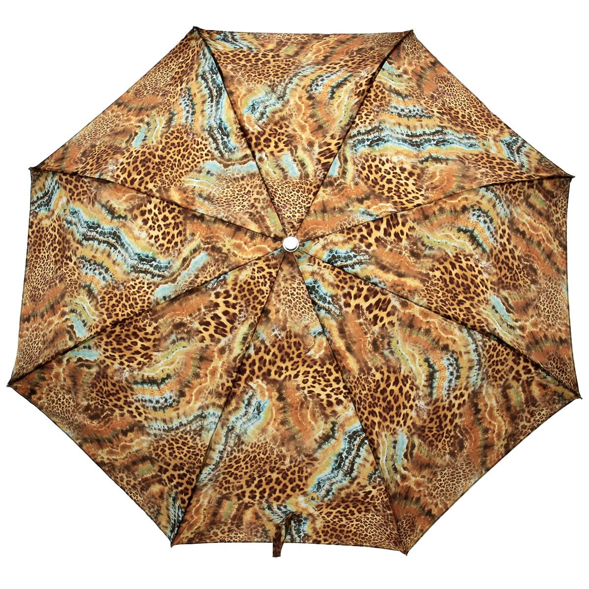 Зонт женский Pasotti, автомат, 3 сложения, леопардовый261-56084-1Стильный автоматический зонт Pasotti в 3 сложения даже в ненастную погоду позволит вам оставаться стильной и элегантной. Рукоятка разработана с учетом требований эргономики и выполнена из металла. Каркас зонта из стали состоит из восьми карбоновых спиц. Зонт имеет полный автоматический механизм сложения: купол открывается и закрывается нажатием кнопки на рукоятке, стержень складывается вручную до характерного щелчка, благодаря чему открыть и закрыть зонт можно одной рукой, что чрезвычайно удобно при входе в транспорт или помещение. Купол зонта выполнен из прочного сатина и оформлен леопардовым принтом. Закрытый купол фиксируется клапаном на кнопке. На рукоятке для удобства есть небольшой шнурок-петля, позволяющий надеть зонт на руку тогда, когда это будет необходимо. Компактные размеры зонта в сложенном виде позволят ему без труда поместиться в сумочке и не доставят никаких проблем во время переноски. К зонту прилагается чехол.