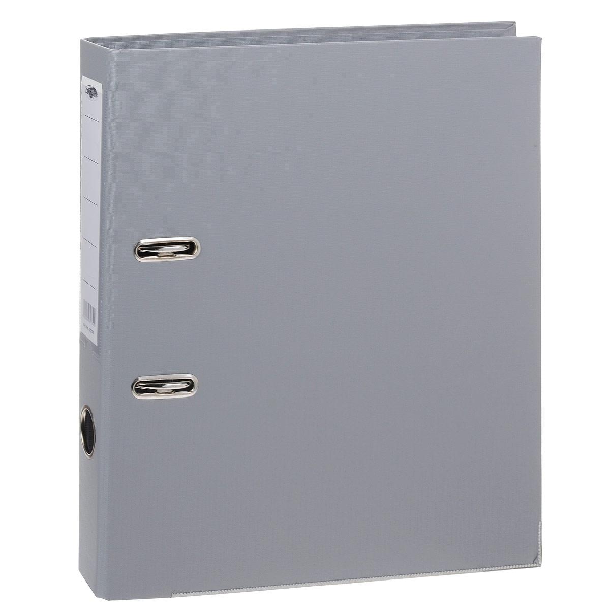 Папка-регистратор Centrum, ширина корешка 50 мм, цвет: серый82734Папка-регистратор Centrum пригодится в каждом офисе и доме для хранения больших объемов документов. Внешняя сторона папки выполнена из плотного картона с двусторонним ПВХ-покрытием, что обеспечивает устойчивость к влаге и износу. Нижняя кромка папки защищена от истирания металлической окантовкой. Папка-регистратор оснащена надежным арочным механизмом крепления бумаги. Круглое отверстие в корешке папки облегчит ее извлечение с полки, а прозрачный карман со съемной этикеткой позволяет маркировать содержимое. Ширина корешка 5 см.