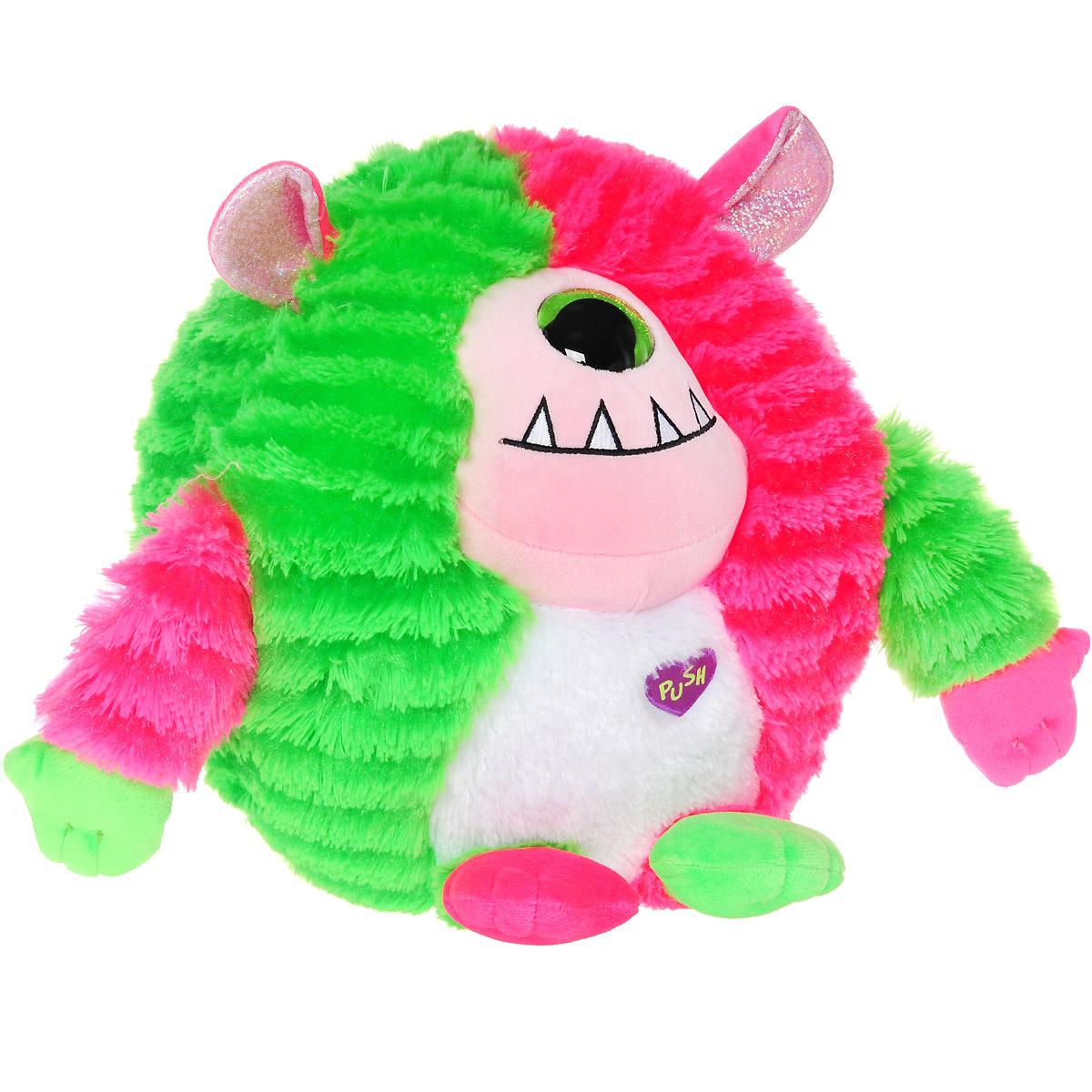 Мягкая озвученная игрушка Monstaz Монстр Spike, 27 см37914Очаровательная мягкая игрушка Монстр Spike, выполненная в виде милого монстрика, вызовет умиление и улыбку у каждого, кто ее увидит. Мягкий монстрик Spike из серии Monstaz забавный и очаровательный, его яркие цвета притягивают к себе взгляд. Его шерстка мягкая и приятная на ощупь, она выполнена в розовом и салатовом цветах. Глаз украшен зелеными блестками, ушки выполнены в розовом цвете с блестящей серебристой вставкой. При нажатии на сердечко игрушка начинает говорить милым тоненьким голосом на английском языке, забавно смеяться и дразниться. Специальные гранулы, используемы при набивке игрушки, способствуют развитию мелкой моторики рук малыша. Удивительно мягкая игрушка принесет радость и подарит своему обладателю мгновения нежных объятий и приятных воспоминаний. Игрушка работает от незаменяемых батареек.