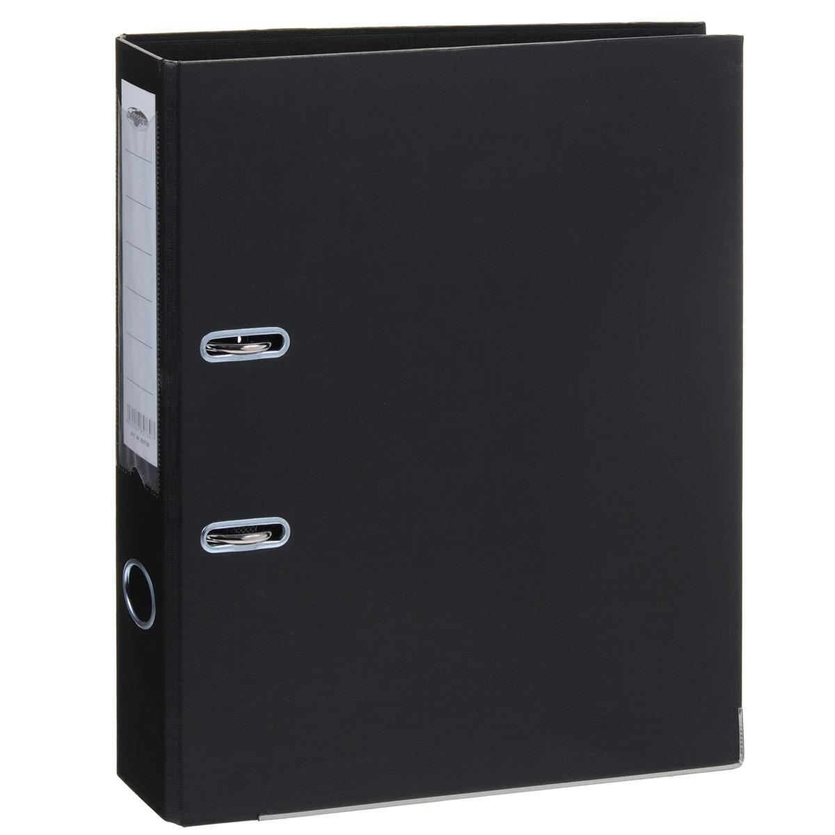 Папка-регистратор Centrum, ширина корешка 50 мм, цвет: черный82730Папка-регистратор Centrum пригодится в каждом офисе и доме для хранения больших объемов документов. Внешняя сторона папки выполнена из плотного картона с двусторонним ПВХ-покрытием, что обеспечивает устойчивость к влаге и износу. Нижняя кромка папки защищена от истирания металлической окантовкой. Папка-регистратор оснащена надежным арочным механизмом крепления бумаги. Круглое отверстие в корешке папки облегчит ее извлечение с полки, а прозрачный карман со съемной этикеткой позволяет маркировать содержимое. Ширина корешка 5 см.