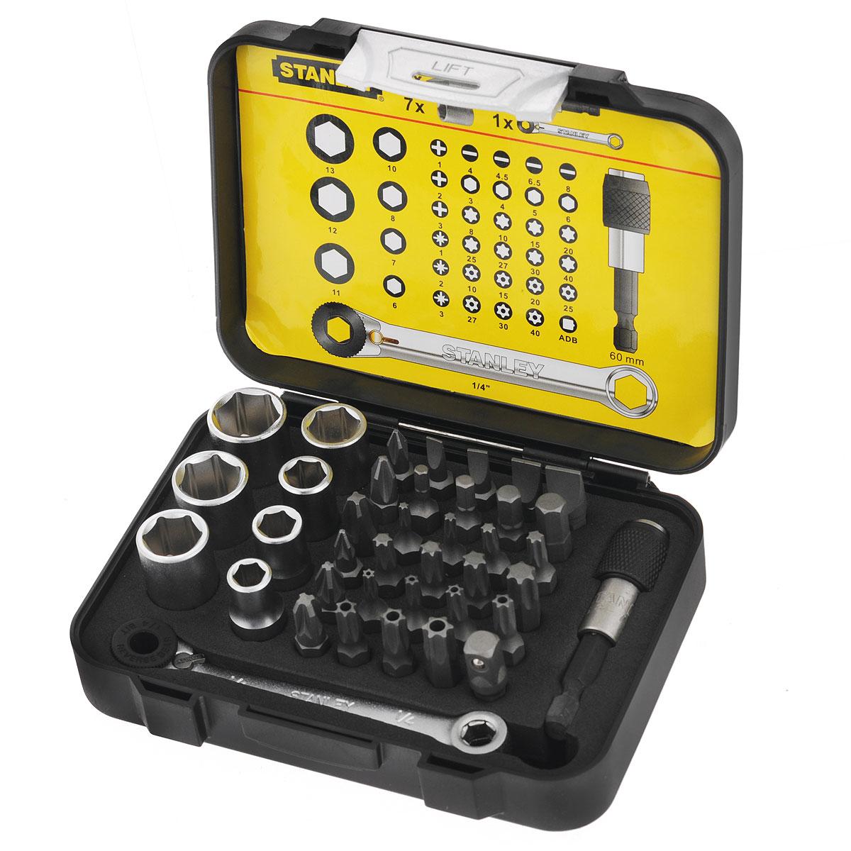 Набор бит Stanley FatMax с мини-трещоткой в виде ключа и магнитным держателем, 39 шт1-13-907Набор бит Stanley FatMax с мини-трещоткой в виде ключа и магнитным держателем используется в качестве сменных насадок для отверток. Каждая вставка выполнена из высококачественной стали. Состав набора: Вставки под прямой шлиц: 0,4 см, 0,45 см, 0,65 см, 0,8 см. Вставки под шлиц Phillips: PH1, PH2, PH3. Вставки под шлиц Pozidriv: PZ1, PZ2, PZ3. Вставки под шестигранный шлиц: 0,3 см, 0,4 см, 0,5 см, 0,6 см. Вставки под шлиц Torx: T8, T10, T15, T20, T25, T27, T30, T40. Вставки под шлиц Tamperproof Torx: T10, T15, T20, T25, T27, T30, T40. Головки торцевые 1/4: 0,6 см, 0,7 см, 0,8 см, 1 см, 1,1 см, 1,2 см, 1,3 см. Магнитный держатель для вставок: 6 см. Мини-трещотка 1/4 Переходник шестигранник 1/4 дюйма М-1/4дюйма М