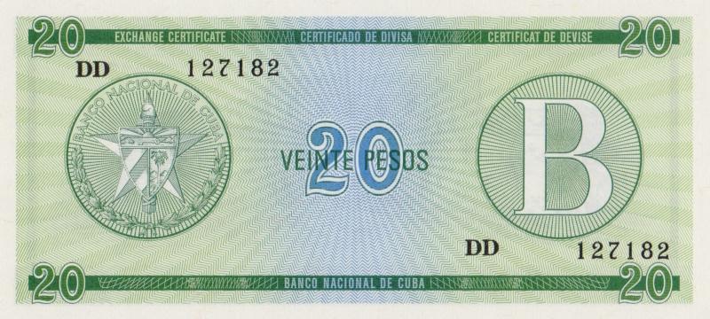 Валютное свидетельство на 20 песо. Серия B. Куба. 1985 год304329Размер 13,5 x 6,2 см. Сохранность очень хорошая.
