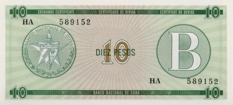 Валютное свидетельство на 10 песо. Серия B. Куба. 1985 год304329Размер 13,5 x 6,2 см. Сохранность очень хорошая.