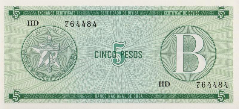 Валютное свидетельство на 5 песо. Серия B. Куба. 1985 год304329Размер 13,5 x 6,2 см. Сохранность очень хорошая.