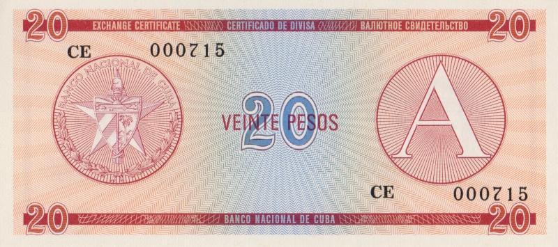 Валютное свидетельство на 20 песо. Серия A. Куба. 1985 год304329Размер 13,5 x 6,2 см. Сохранность очень хорошая.