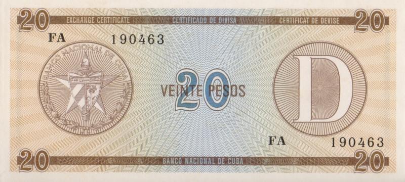 Валютное свидетельство на 20 песо. Серия D. Второй выпуск. Куба. 1985 год304329Размер 13,5 x 6,2 см. Сохранность очень хорошая.