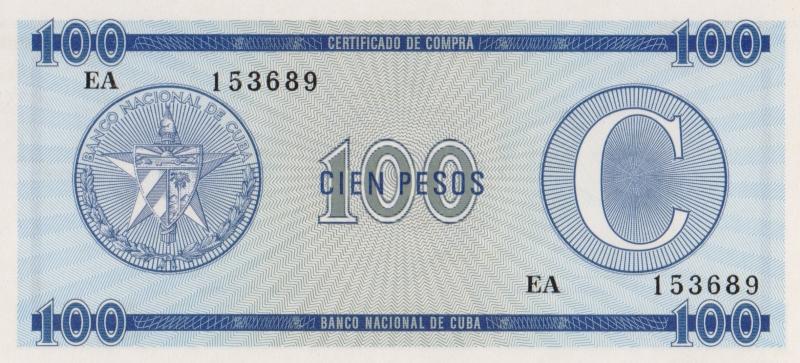 Валютное свидетельство на 100 песо. Серия C. Второй выпуск. Куба. 1985 год304329Размер 13,5 x 6,2 см. Сохранность очень хорошая.