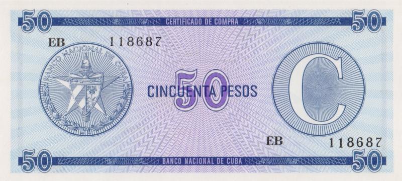 Валютное свидетельство на 50 песо. Серия C. Второй выпуск. Куба. 1985 год304329Размер 13,5 x 6,2 см. Сохранность очень хорошая.