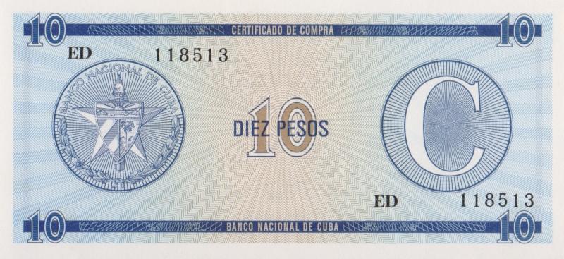 Валютное свидетельство на 10 песо. Серия C. Второй выпуск. Куба. 1985 год304329Размер 13,5 x 6,2 см. Сохранность очень хорошая.