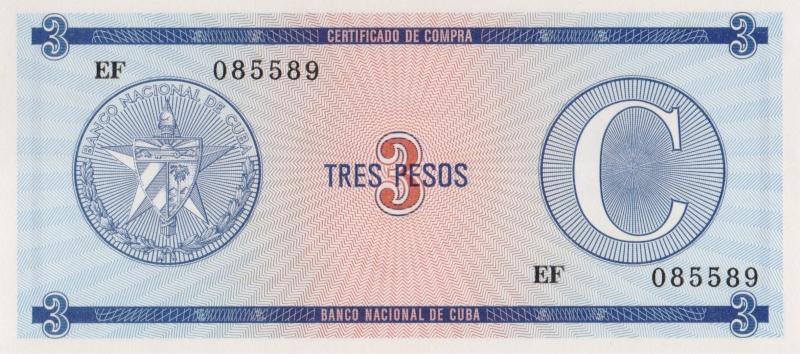 Валютное свидетельство на 3 песо. Серия C. Второй выпуск. Куба. 1985 год304329Размер 13,5 x 6,2 см. Сохранность очень хорошая.