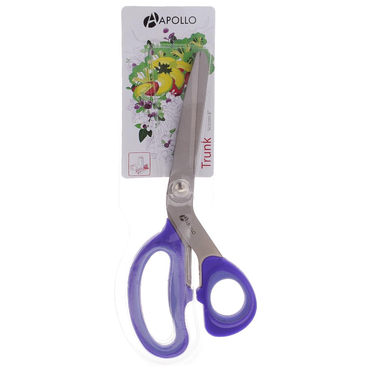 Ножницы Apollo Trunk, цвет: сиреневый, длина 21 смTRN-99Ножницы Apollo Trunk, изготовленные из нержавеющей стали и пищевого пластика, это универсальный помощник в вашем доме. Такие ножницы предназначены для домашнего использования на кухне. Кухонные ножницы - необходимая вещь на вашей кухне. Измельчить зелень для салата, разделать тушку курицы или утки, вскрыть пакет с молоком, срезать плавники у рыбы - все это намного проще и быстрее сделать не ножом, а ножницами. Не использовать в посудомоечной машине. Длина ножниц: 21 см. Длина лезвий: 8,5 см.