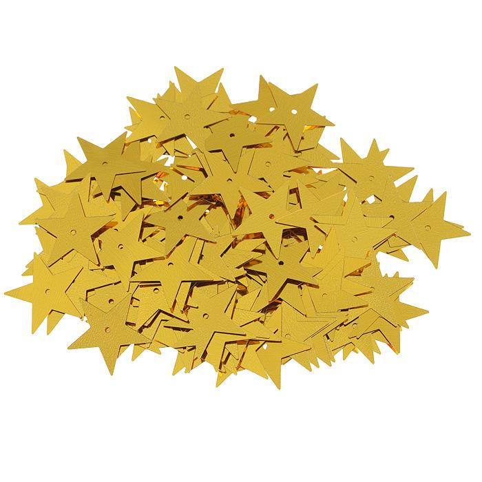 Пайетки Астра Звездочки, цвет: золотистый (А1), 20 мм, 10 г. 7700477_А17700477_А1Пайетки Астра Звездочки представляют собой блёстки, плоские чешуйки в форме пятиконечной звезды, изготовленные из пластика с отверстием для продевания нитки. Они позволят изыскано украсить любую вещь, идеальны для декора сценических костюмов, создания стилизованной одежды.