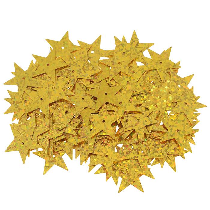 Пайетки Астра Звездочки, с голограммой, цвет: золотистый (А20), 20 мм, 10 г. 7700477_А207700477_А20Пайетки Астра Звездочки с голограммой представляют собой блёстки, плоские чешуйки в форме пятиконечной звезды, изготовленные из пластика с отверстием для продевания нитки. Они позволят изыскано украсить любую вещь, идеальны для декора сценических костюмов, создания стилизованной одежды.