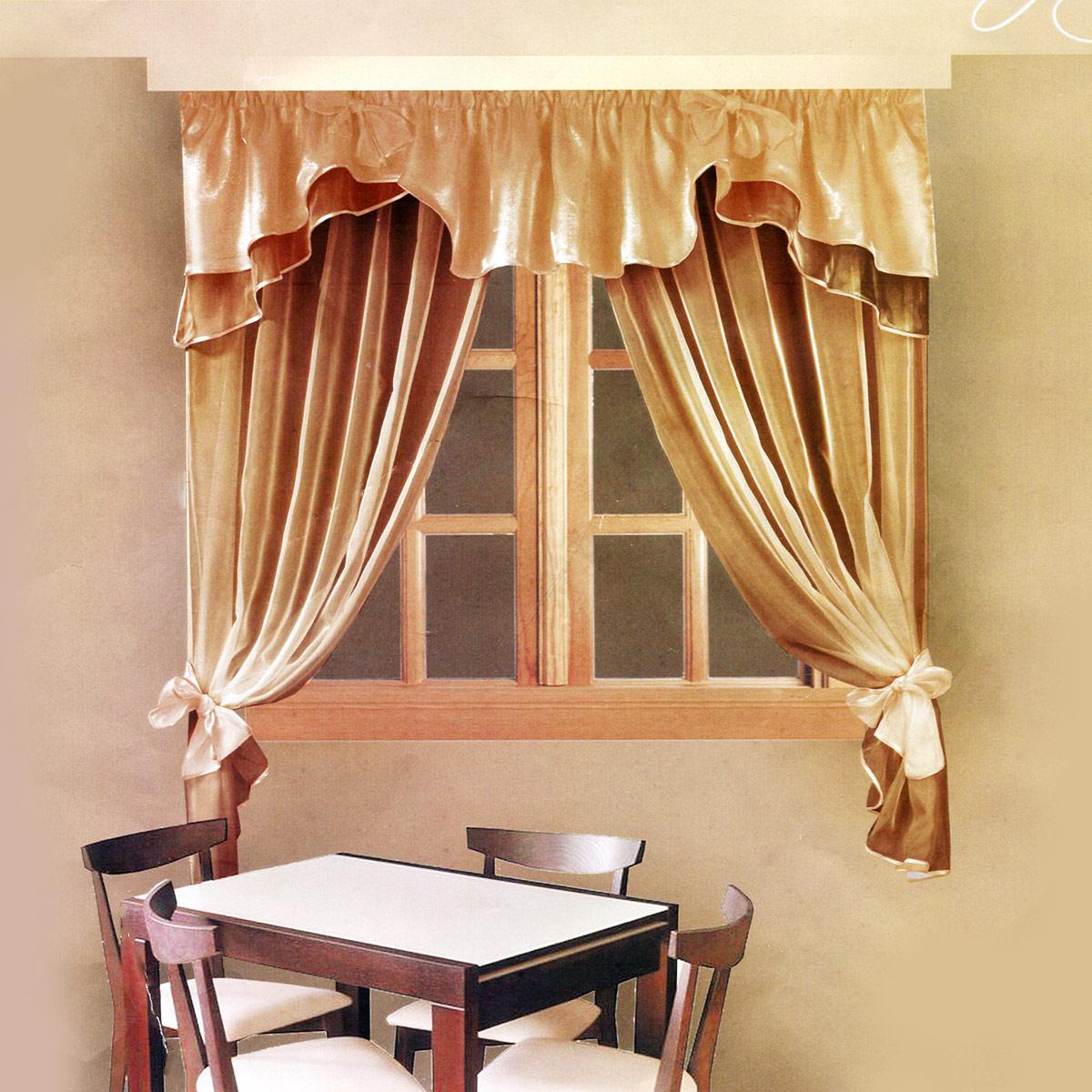 Комплект штор Zlata Korunka, на ленте, цвет: коричневый, высота 160 см. Б029Б029Роскошный комплект штор Zlata Korunka, выполненный из полиэстера, великолепно украсит любое окно. Комплект состоит из ламбрекена и тюля. Воздушная ткань и приятная, приглушенная гамма привлекут к себе внимание и органично впишутся в интерьер помещения. Этот комплект будет долгое время радовать вас и вашу семью! Шторы крепятся на карниз при помощи ленты, которая поможет красиво и равномерно задрапировать верх. Тюль можно зафиксировать в одном положении с помощью двух подхватов, которые можно завязать в банты.