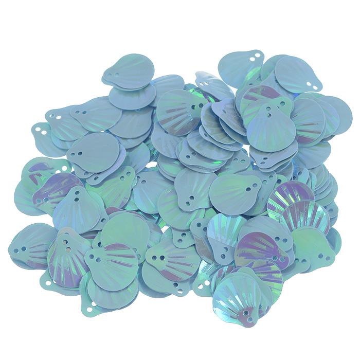 Пайетки Астра Ракушки, с перламутром, цвет: светло-бирюзовый (17), 13 мм х 14 мм, 10 г. 7700480_177700480_17Пайетки Астра Ракушки с перламутром представляют собой блёстки, плоские чешуйки в форме ракушки, изготовленные из пластика с двумя отверстиями для продевания нитки. Они позволят изыскано украсить любую вещь, идеальны для декора сценических костюмов, создания стилизованной одежды.