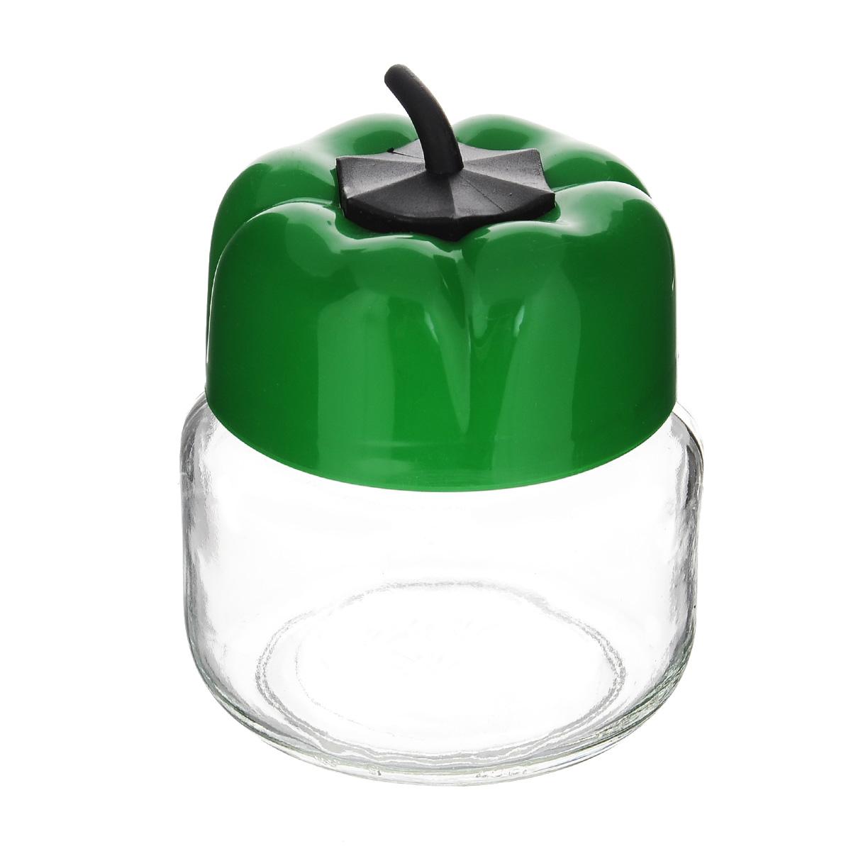 Банка для сыпучих продуктов Renga Перец, цвет: зеленый, 400 мл131050 зеленыйБанка для сыпучих продуктов Renga Перец выполнена из высококачественного прозрачного стекла и пластика. Такая банка прекрасно подойдет для хранения специй, сахара, кофе и других сыпучих продуктов. Банка плотно закручивается крышкой, благодаря чему продукты дольше сохраняют аромат и вкус. Такая банка ярко оформит интерьер кухни и станет незаменимым аксессуаром на вашей кухне.