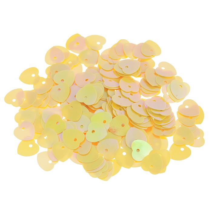 Пайетки Астра Сердечки, с перламутром, цвет: желто-лимонный (91), 10 мм х 10 мм, 10 г. 7700473_917700473_91Пайетки Астра Сердечки с перламутром представляют собой блёстки, плоские чешуйки в форме сердца, изготовленные из пластика с отверстием для продевания нитки. Они позволят изыскано украсить любую вещь, идеальны для декора сценических костюмов, создания стилизованной одежды.