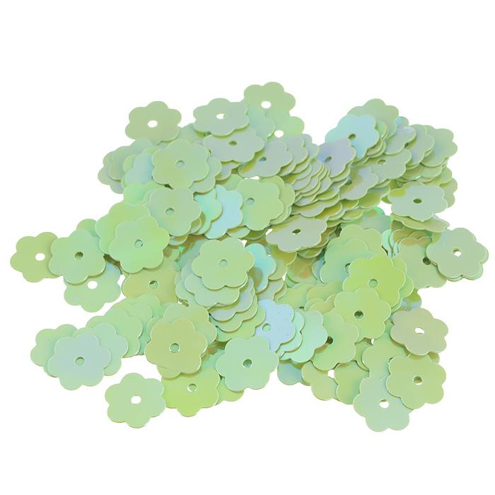 Пайетки Астра Цветочки, с перламутром, цвет: салатовый (85), 10 мм, 10 г. 7700474_857700474_85Пайетки Астра Цветочки с перламутром представляют собой блёстки, плоские чешуйки в форме цветка, изготовленные из пластика с отверстием для продевания нитки. Они позволят изыскано украсить любую вещь, идеальны для декора сценических костюмов, создания стилизованной одежды.