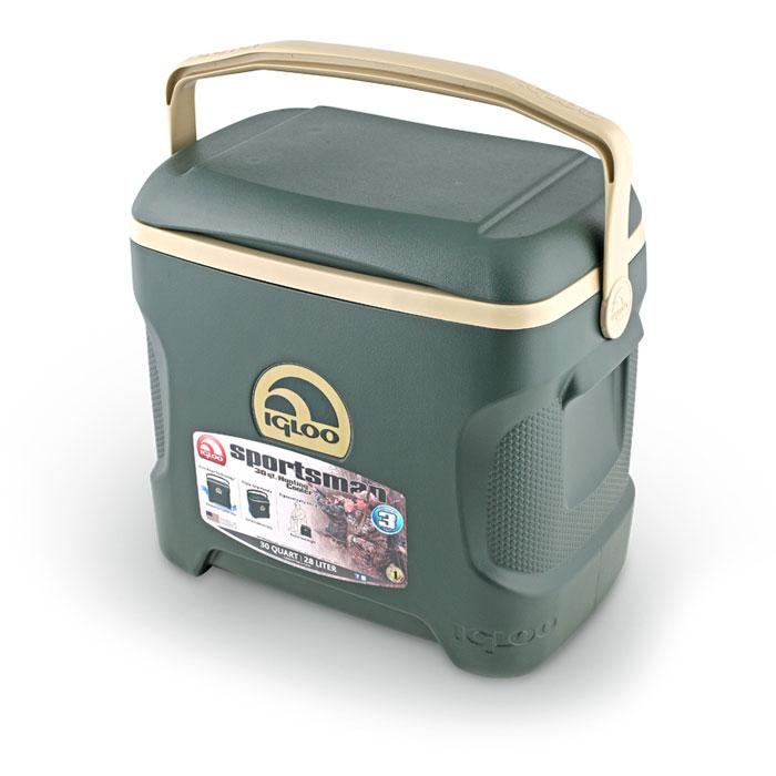 Изотермический контейнер Igloo Sportsman, цвет: зеленый, 28 л44197Легкий и прочный изотермический контейнер Igloo Sportsman, изготовленный из высококачественного пластика, предназначен для транспортировки и хранения продуктов и напитков. Корпус гладкий, эргономичного дизайна, ударопрочный. Контейнер можно использовать в качестве стула, он настолько прочный, что выдержит вес взрослого человека. Поддержание внутреннего микроклимата обеспечивается за счет двойной термоизоляционной прокладки из пены Ultra Therm, способной удерживать температуру внутри корпуса до 3-х дней. Для поддержания температуры использовать с аккумуляторами холода. Контейнер имеет усиленную поворотную ручку с фиксацией и широко открывающуюся крышку для легкого доступа к продуктам. Крышка плотно и герметично закрывается. Литые ручки по бокам корпуса для удобства погрузки и разгрузки из багажника автомобиля. Такой контейнер можно взять с собой куда угодно: на отдых, пикник, на дачу, на рыбалку или охоту и т.д. Он имеет компактные размеры и не займет...