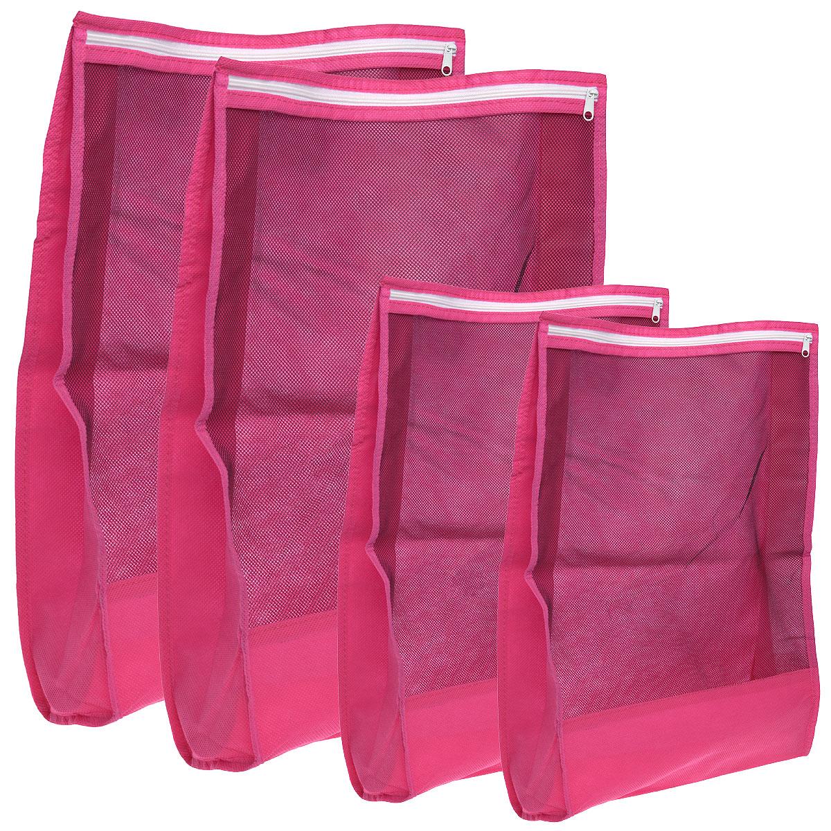 Набор чехлов для путешествий Hausmann, 4 шт3T-210Набор чехлов для путешествий Hausmann состоит из чехла для электроники и мелких предметов на молнии, малого чехла для одежды на молнии, чехла для белья на молнии, большого чехла для одежды на молнии. Предметы набора изготовлены из высококачественной вискозы. Чехлы закрываются на застежку-молнию и оснащены прозрачными вставками, благодаря которым вы без труда сможете определить их содержимое. Чехлы помогут аккуратно разместить и защитить вещи внутри чемодана, а также упростят сборы и распаковку вещей.