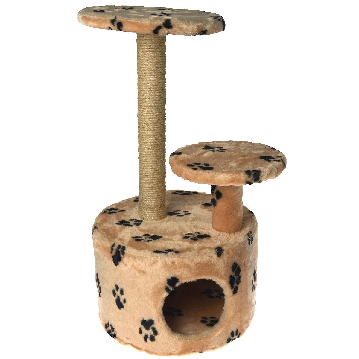 Домик для кошки Пушок, с когтеточкой, цвет: коричневый, лапы, 42 см х 42 см х 80 см4640000931124Домик круглой формы Пушок, выполненный из искусственного меха, будет прекрасным местом для отдыха и уединения вашей кошки. В домике предусмотрены ступенька, полочка и когтеточка. Когтеточка - один из самых необходимых аксессуаров для кошки. Для приучения к когтеточке можно натереть ее сухой валерьянкой или кошачьей мятой.