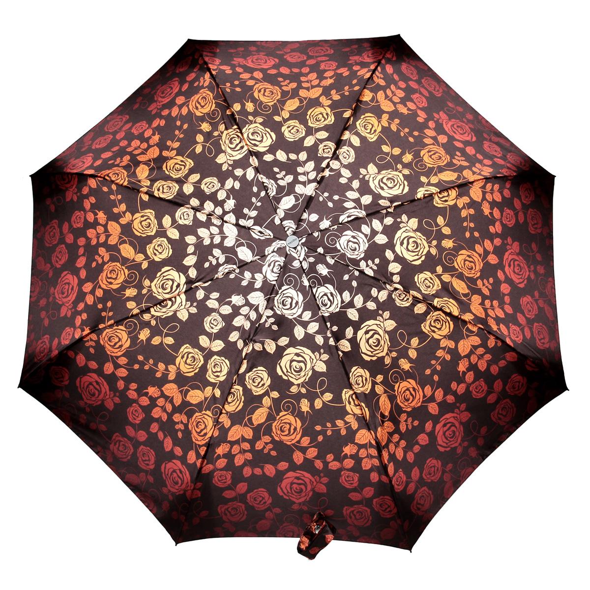 Зонт женский Doppler Розы, автомат, 3 сложения, цвет: красно-оранжевый. 74660FGF74660FGFСтильный автоматический зонт Doppler Розы в 3 сложения даже в ненастную погоду позволит вам оставаться стильной и элегантной. Каркас зонта из стали состоит из восьми карбоновых спиц, оснащен удобной рукояткой. Зонт имеет автоматический механизм сложения: купол открывается и закрывается нажатием кнопки на рукоятке, стержень складывается вручную до характерного щелчка, благодаря чему открыть и закрыть зонт можно одной рукой, что чрезвычайно удобно при входе в транспорт или помещение. Купол зонта выполнен из прочного сатина и оформлен изображением роз. Закрытый купол фиксируется хлястиком на кнопке. На рукоятке для удобства есть небольшой шнурок-петля, позволяющий надеть зонт на руку тогда, когда это будет необходимо. К зонту прилагается чехол.
