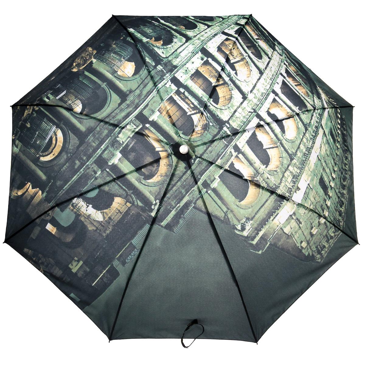 Зонт женский Flioraj Колизей, автомат, 3 сложения014-8FJСтильный автоматический зонт Flioraj Колизей в 3 сложения даже в ненастную погоду позволит вам оставаться стильной и элегантной. Каркас зонта из анодированной стали состоит из восьми карбоновых спиц, оснащен удобной прорезиненной рукояткой. Карбоновые спицы помогут выдержать натиск ураганного ветра. Зонт снабжен системой антиветер. Зонт имеет полный автоматический механизм сложения: купол открывается и закрывается нажатием кнопки на рукоятке, стержень складывается вручную до характерного щелчка, благодаря чему открыть и закрыть зонт можно одной рукой, что чрезвычайно удобно при входе в транспорт или помещение. Купол зонта выполнен из прочного полиэстера и оформлен оригинальным изображением знаменитого Колизея. Закрытый купол фикчируется хлястиком на кнопке. На рукоятке для удобства есть небольшой шнурок-петля, позволяющий надеть зонт на руку тогда, когда это будет необходимо. К зонту прилагается чехол.