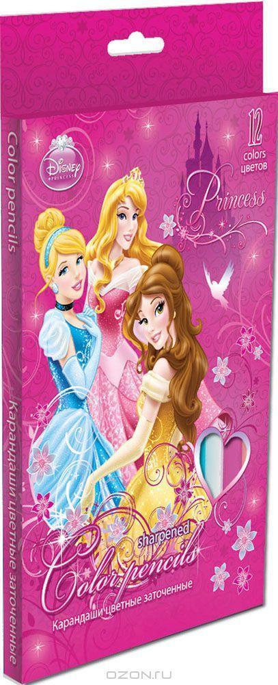 Набор цветных карандашей, 12 шт. (треугольные толстые). Цветные карандаши длиной 17,8 см; заточенные; розовое дерево; цветной грифель 4 PrincessPRAB-US1-8P-12Канцелярский набор Disney Princess станет незаменимым атрибутом в учебе любого школьника.