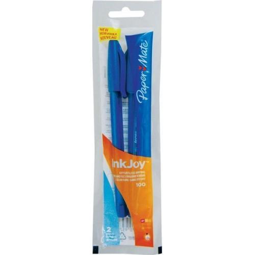 Ручка шариковая INKJOY 100, с колпачком, синяя, 0,5 мм, 2 шт.