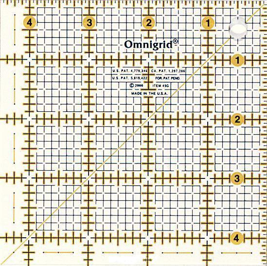 Линейка универсальная Prym Omnigrid, с дюймовой шкалой, 4,5x4,5 дюймов611473