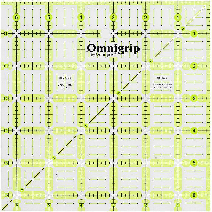 Линейка нескользящая Prym Omnigrid, с дюймовой шкалой, 6,5x6,5 дюймов610215