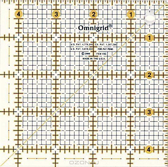 Линейка универсальная Prym Omnigrid, с дюймовой шкалой, 9,5x9,5 дюймов611480