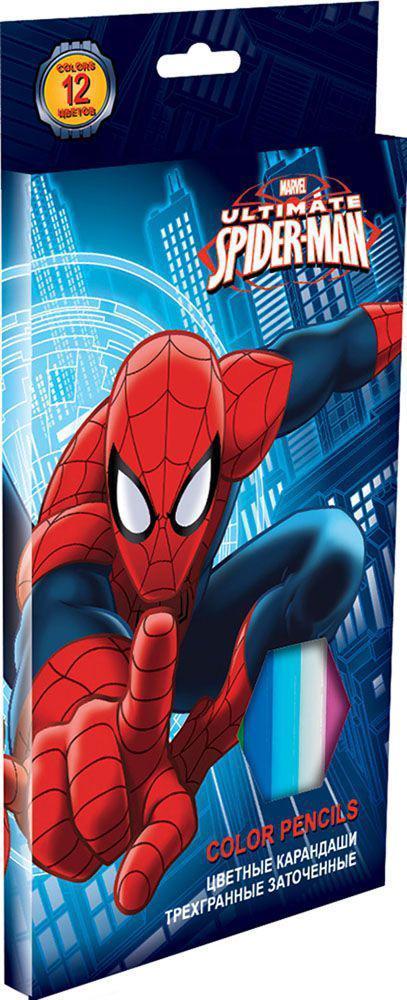Набор цветных карандашей, 12 шт. (треугольные толстые). Цветные карандаши длиной 17,8 см; заточенные; розовое дерево; цветной грифель 4 мм; карандаш в цвет грифеля с логотипом; логотип - тиснение золотом; коробка: полноцветная печать. Spider-man ClassiSMBB-US2-8P-12Канцелярский набор Spider-man станет незаменимым атрибутом в учебе любого школьника.