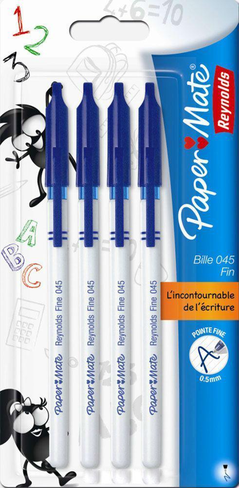 Ручка шариковая BP 045, с колпачком, синяя, 0,5 мм, 4 шт. в блистере