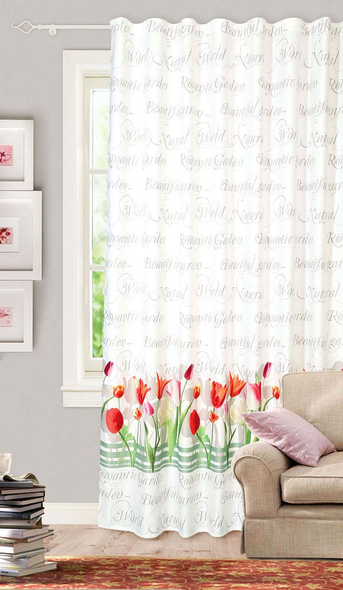 Штора готовая для гостиной Garden, на ленте, цвет: белый, красный, размер 200*260 см. С 10233 - W1223 V8С 10233 - W1223 V8Готовая портьерная штора для гостиной Garden выполнена из сатина (93% полиэстера и 7% льна) с изящным цветочным принтом и витиеватыми надписями. Полупрозрачность материала, вуалевая текстура и нежная цветовая гамма привлекут к себе внимание и органично впишутся в интерьер комнаты. Штора крепится на карниз при помощи ленты, которая поможет красиво и равномерно задрапировать верх. Штора Garden великолепно украсит любое окно. Стирка при температуре 30°С.