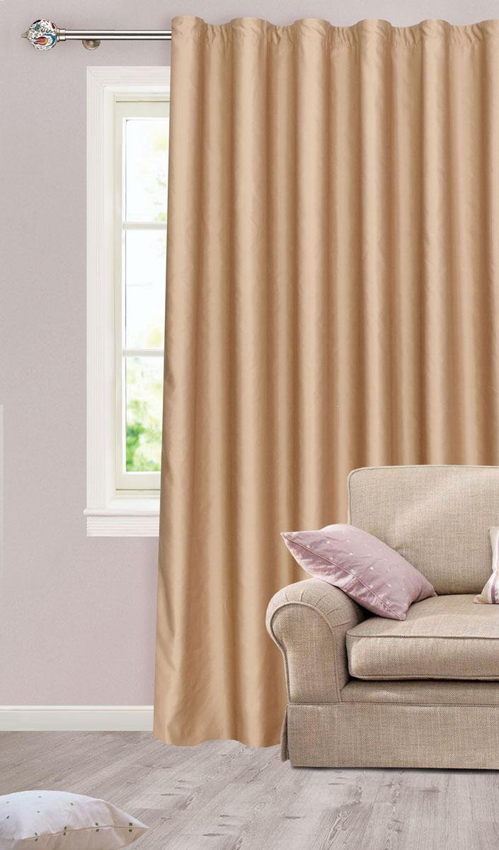 Штора для гостиной Garden, на ленте, цвет: бежевый, размер 200*260 см. сw1223 V75070с w1223 V75070Роскошная штора-портьера Garden выполнена из сатина (100% полиэстера). Материал плотный и мягкий на ощупь. Оригинальная текстура ткани и нежный цвет привлекут к себе внимание и органично впишутся в интерьер помещения. Эта штора будет долгое время радовать вас и вашу семью! Штора крепится на карниз при помощи ленты, которая поможет красиво и равномерно задрапировать верх. Стирка при температуре 30°С.